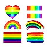 Etiquetas engomadas del arco iris del orgullo gay tatuaje temporal 6 estilos 72 paquete etiqueta engomada del cuerpo de la cara impermeable para celebraciones LGBT