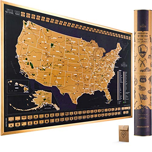 Scratch Off Map of the United States National Parks - 24x17 Scratch Off USA Map Poster with National Parks, Landmarks, Highest Peaks, and State Flags...