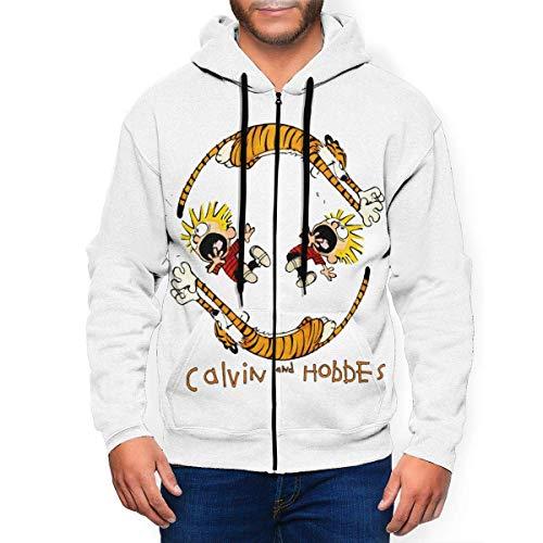 BYYKK Sweat-Shirt à Capuche, Homme Sweats à Capuche, Calvin and Hobbes Men's Classic Autumn Winter Zip Hoodie