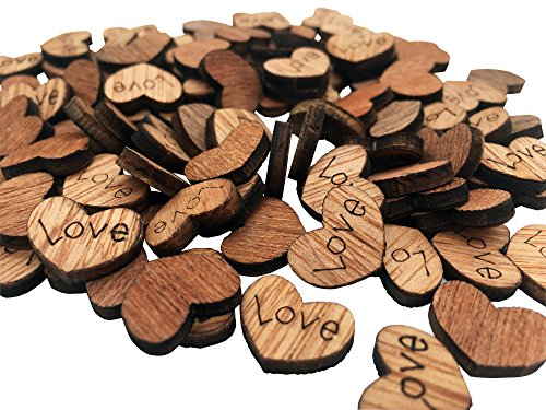 100 Pack Shaped Rustic Wooden Love Heart Wooden Heart Confetti Engraved Love Hearts Wedding Table Scatter Decoration Crafts for Wedding Valentine's Day Gift (Brown-Love)