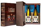 CAMINO DE CABRAS Estuche regalo – Producto Gourmet – Vino blanco - Godello Valdeorras + Albariño Rias Baixas - Vino bueno para regalo - 2 botellas x 75cl