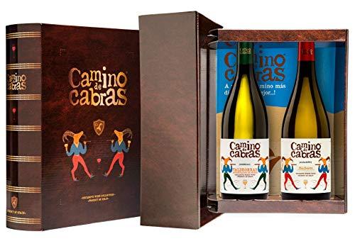 CAMINO DE CABRAS Estuche de vino – Albariño D.O. Rías Baixas + Godello D.O. Valdeorras - Vino blanco –Producto Gourmet - Vino para regalar - Vino Premium - 2 botellas x 750 ml.