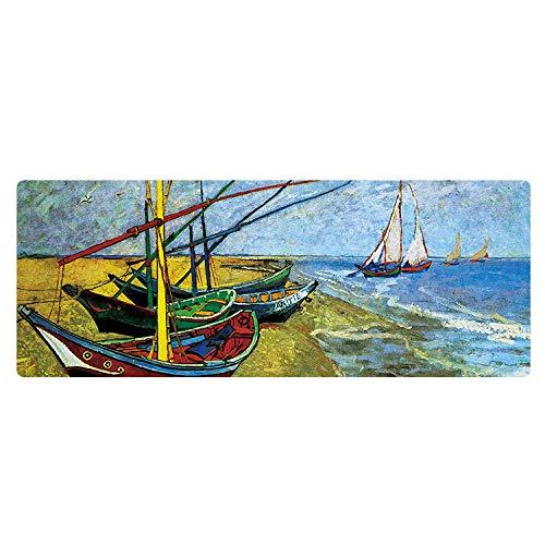 Künstler Ölgemälde Große Gummi Mauspad Persönlichkeit Landschaft Persönliche Benutzerdefinierte MauspadMeerboot11,8X31,5X0,06 in