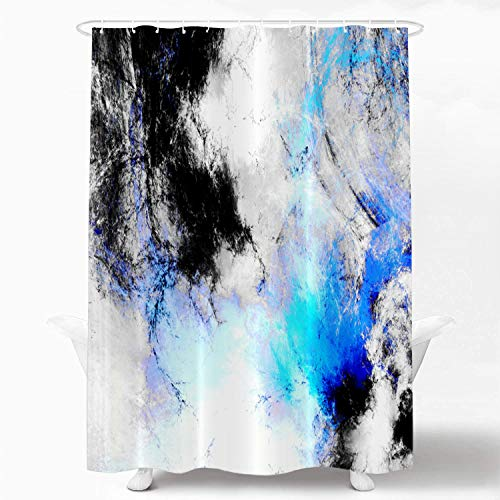 Shrahala Abstract Grey and White Decorative Shower Curtain, Fractal Abstract Blue Black and Grey Designs Shower Curtain for Shower Stall Bathroom Waterproof Shower Curtain with Grommets 72x72 Inch