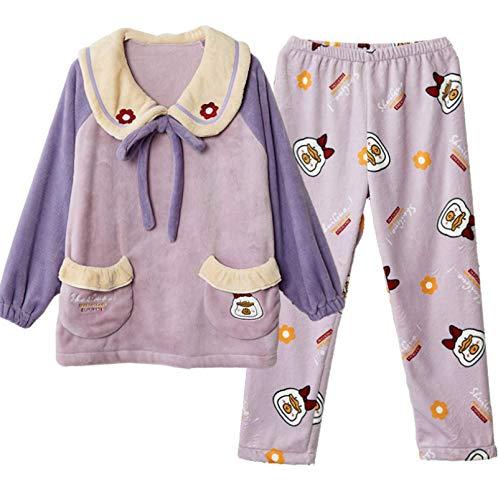 LEYUANA Franela Espesar Cálido Suelto Gran Tamaño Coral Fleece Homewear Pijamas Mujeres XL A