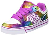 Heelys Kids Motion Plus Skate Shoe Fashion Sneaker-Girls,White/Rainbow/Hot Pink,4 Big Kid