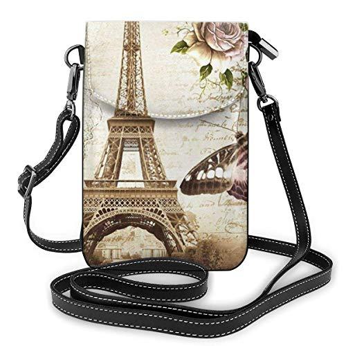 AOOEDM Handy Geldbörse Crossbody Paris Eiffelturm Frauen Pu Leder Mode Handtasche mit verstellbarem Riemen