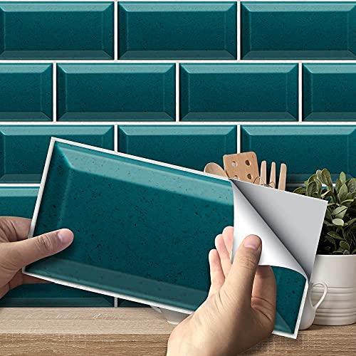 Swinno Fliesenaufkleber, selbstklebend, türkis, Wandfliesenaufkleber, wasserdicht, für Küche, Badezimmer, Heimdekoration, 20 x 10 cm, 54 Stück