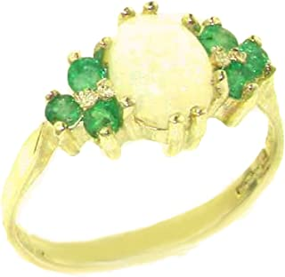 14k Yellow Gold Real Genuine Opal and Emerald Womens Band Ring