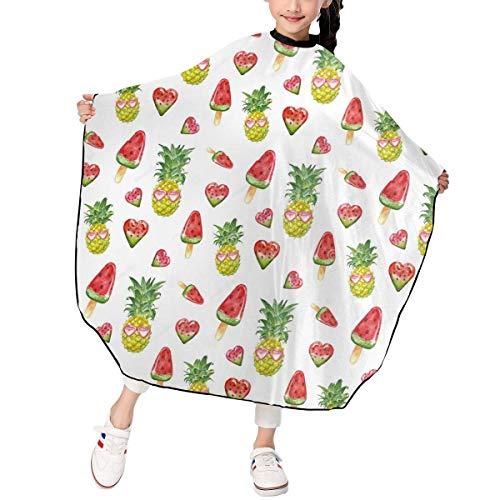 Summer Pineapple Fruits Corte de pelo para niños Capa de peluquero Capa de salón Cubierta para corte de cabello, peinado y champú 39x47in