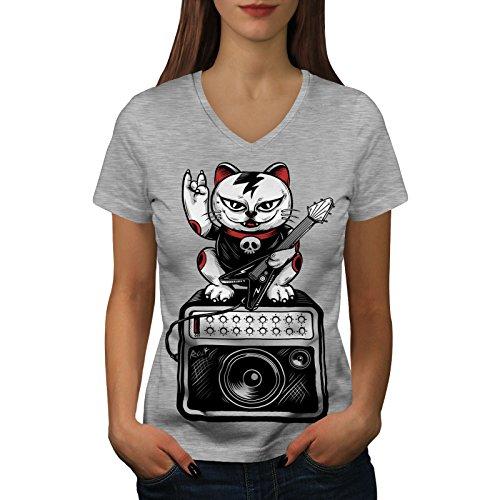 wellcoda Katze Kätzchen Rock Star Frau V-Ausschnitt T-Shirt Musik Grafikdesign-T-Stück