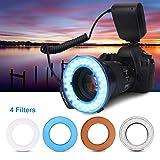 Flash annulaire à LED pour caméra macro avec ensemble de filtres 4 couleurs, anneau universel de perles à LED 48 pièces clignotant avec adaptateurs pour appareil photo 40,5-77 mm, anneau de flash