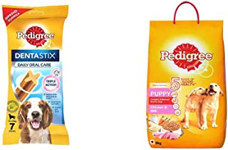 Pedigree Dentastix Medium Breed (10-25 kg) Oral Care Dog Treat, 180g Weekly Pack (7 Chew Sticks) & Puppy Dry Dog Food, Chi...
