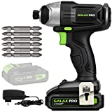 GALAX PRO 20 V Lithium Ion 1/4' Hex Cordless Impact Driver with LED Work Light, 6 Pieces Screwdriver Bits, Variable...