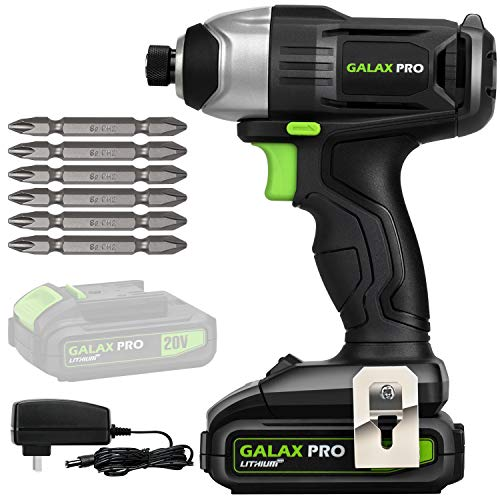 "GALAX PRO 20 V Lithium Ion 1/4"" Hex Cordless Driver with LED Work Light, 6 Pieces Screwdriver Bits, Variable Speed (0-2800 RPM)- 1.3 Ah Battery and Charger Included"
