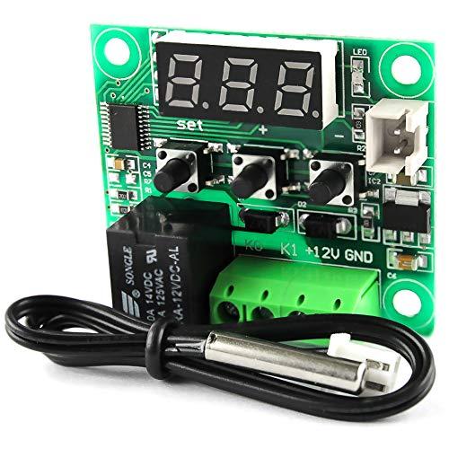 Silverbead Thermostat 12V DC digitaler Temperaturschalter Temperatur Regler Sensor [-50-110°C] mit Temperatursensor | Als Steuerung/Schalter für ein Peltierelement, Lüfter, Heizelement wie Heizfolie