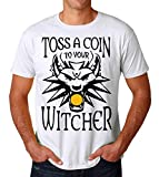 Toss A Coing to Your Witcher Poster Wolf Men's T-Shirt Hommes Tshirts Tee Small...