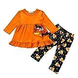 Moneycom❤ 2 piezas para niñas, niñas, vestido con volantes, leggings para Halloween, ropa de Hallowe...