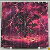 Setyserytu Duschvorhänge/Badvorhänge, Abstract Cloud Pink Sky Symbol Video Game Warhammer 40k Cool Bathroom Curtains