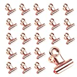 40 Packs Rose Gold Bulldog Hinge Clips, 0.8 Inch Small Bulldog Paper Clips,Metal Hinge Paper Clips for Tags Bags, Shops, Office and Home Kitchen, File Paper Money Clamps