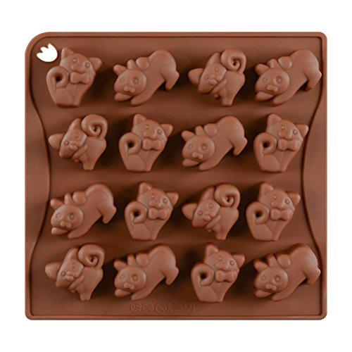 BESTonZON 16 Cavity Silikon Pralinenformen Schokoladenformen Katze geformt für Bonbonbs Süßigkeiten DIY Handwerk (Kaffee)