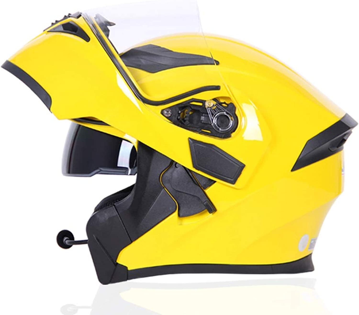 Lanbinxiang@ Multifunction blueeetooth Helmet Double Lens Men and Women Full Face blueeetooth Helmet Personality Cool Motorcycle Racing Helmet Yellow   10 Meters Can Be Connected to blueeetooth Predection