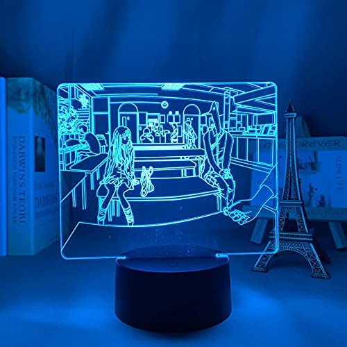 Luz nocturna 3D con diseño de anime y punpun para dormitorio, decoración, cumpleaños, habitación o decoración de mesa, lámpara 3D, manga, buena noche punpun HAFS