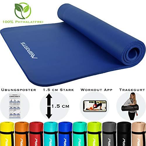 MSPORTS Gymnastikmatte Premium inkl. Tragegurt + Übungsposter + Workout App I Hautfreundliche Fitnessmatte 190 x 60 x 1,5 cm - Königsblau - Phthalatfreie Yogamatte
