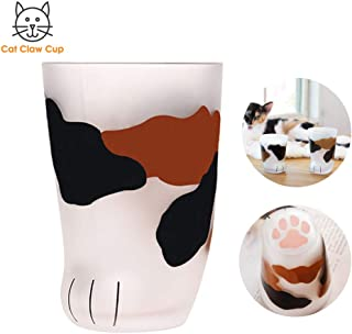 Cat Claw Cup Milk Glass Frosted Glass Cup Cute Cat Foot Claw Print Mug Cat Paw for Coffee Kids Milk Glass Cups Tumbler Personality Breakfast Milk Cup (style 2, 300ml)