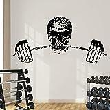 jiuyaomai Schädel Kopf Auf Gym Gewichte Wandtattoos Mode Cool Fitness Wand Home Art Decor...