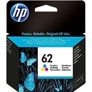 HP 62 C2P06AE Cartuccia Originale per Stampanti HP a Getto d'Inchiostro Compatibile con Stampanti HP Envy All in One 5540, 5642, 5644, 5742, 7640, l'Officejet 5740 e l'Officejet Serie 200, Tricomia