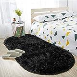 ISEAU Oval Fluffy Rug Carpets, Modern Plush Shaggy Area Rug for Kids Bedroom Extra Comfy Cute Nursery Rug Bedside Rug for Boys Girls Room Home Decor Mats, 2.6 x 5.3ft, Black