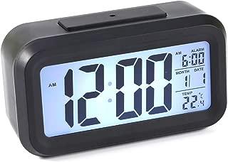 Yonhchop 1 unid Alto Rendimiento Negro Led Moda Digital Temperatura Calendario Pantalla Retroiluminación Digital Snooze Desk Alarm Clock