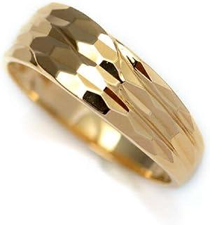 18金 リング 指輪 k18リング 18金ゴールドリング キラキラ 多面カット ウェーブ ライン デザインリング (19)