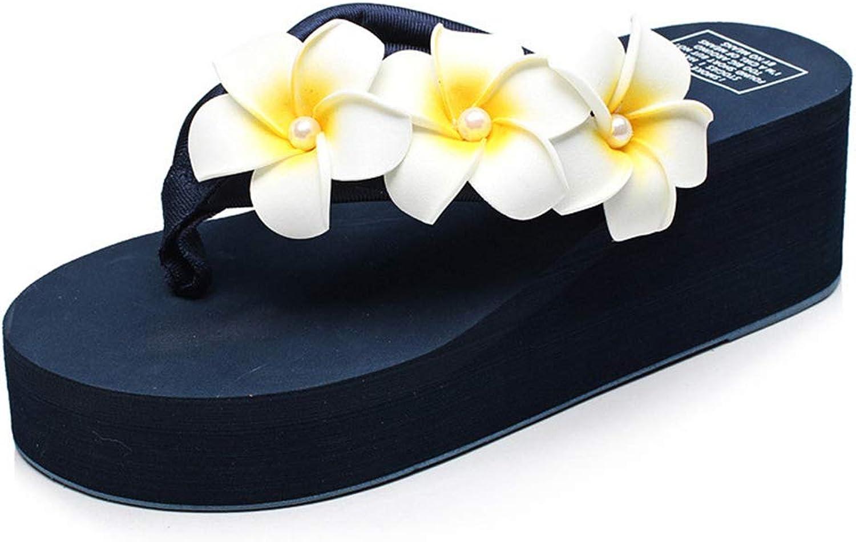 Women Plumeria Flower Slide Platform Wedge Sandals Thick Sole Summer Bohemia Stylish Anti-Slip Beach Flip Flops