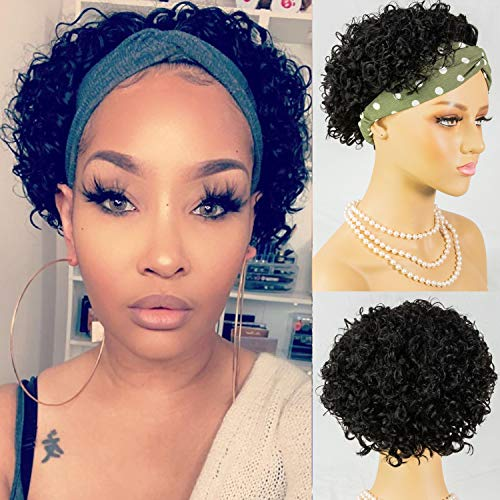 Short Curly Pixie Cut Hair Headband Wigs Short Bob Human Hair Wig for Women Easy Wear Half Wig with Free Headbands #NC 6inches