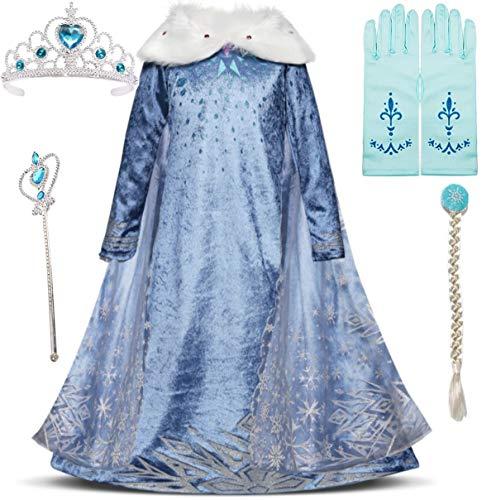 IWFREE Disfraz de Princesa Elsa para nia Capa Disfraces Accesorios para Nias Reino de Hielo Elsa Carnaval,Cosplay,Navidad,Fiesta de Cumpleaos