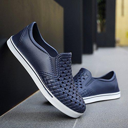 MAZHONG basses Chaussures confortables de plage d'été chaussures légères de trou respirant les hommes japonais les sandales occasionnelles extérieures anti-dérapantes creuses ( Couleur : Bleu , taille : EU39/UK6.5/CN40 )