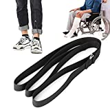 Correa de nailon para levantador de piernas, levantador de piernas para discapacitados, con lazo de mano negro para personas mayores