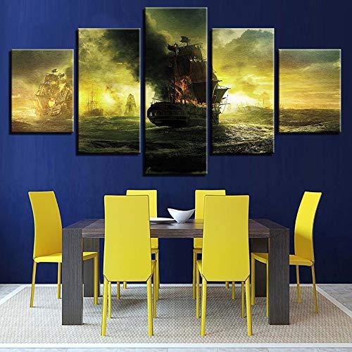 mmwin Lienzo de Pared Modular Impresiones de Arte Imagen 5 Panel Piratas del Caribe Olas del mar Moderna s decoración para niños habitación s: Amazon.es: Hogar