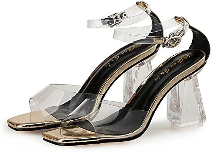 SUHANG Sandales Les Chaussures à Haut Talon Les Poissons Femelles Bouche Sangle Crénelé Nuit Crystal Bold Et Sandales Transparent ,35, De L'Or