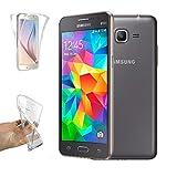 REY Funda Carcasa Gel Transparente Doble 360º para Samsung Galaxy Core Prime G360, Ultra Fina 0,33mm, Silicona TPU de Alta Resistencia y Flexibilidad
