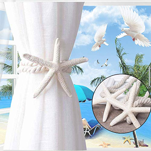 Curtain Tiebacks Natural Cute Starfish Holdbacks Decorative Curtain Rope Drapery Tie for Home Room Window Decor
