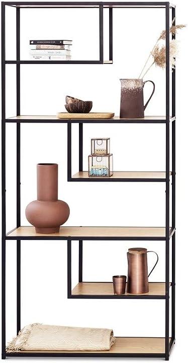 Libreria divisoria ambiente in legno e metallo con 7 ripiani aperti 82 x 34 x 175 cm B07YV2PKRN