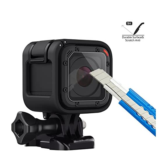 (Pack of 3) Tempered Glass Screen Protector for Gopro Hero 4 Session Hero 5 Session, Akwox 0.3mm 9H Hard Scratch… 2 High Hardness: 9H surface hardness tempered glass screen protector for GoPro session. Featuring maximum protection from high impact drops, scratches, scrapes, and bumps. High Transmittance Transparent: With not influence the Video shooting effect. Super Toughness: The protector will not break into small sharp pieces even if it is broken, which makes it safer than other glass products.