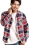 (ビッチ)VICCI メンズ 長袖 ネルシャツ レギュラーカラー チェック柄 羽織 オンブレ ブロック