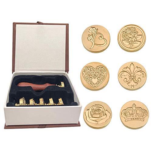 Wachs Siegel Stempelset - 6 Stück Kupfer Wachs Siegel Stempel Kit für Umschlag Einladung Brief Geschenkverpackung Dekoration (Style 2)