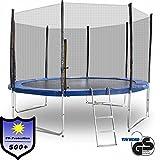 ms-point Gartentrampoline Trampoline Outdoor-Trampoline Fitness-Trampoline 370cm, inkl. Randabdeckung, Sicherheitsnetz und Leiter