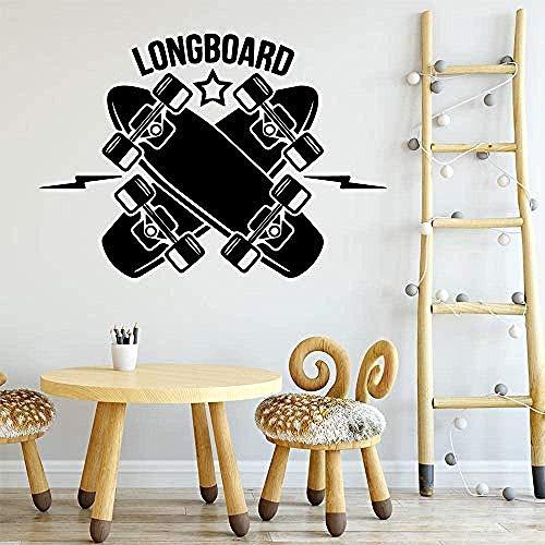 Muurstickers, modieus modern skateboard longboard muursticker PVC verwijderbaar voor kinderkamers decoratie muursticker 43x61 cm