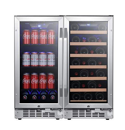 EdgeStar CWBV80301 30 Inch Wide 30 Bottle 80 Can Side-by-Side Wine and Beverage Cooler
